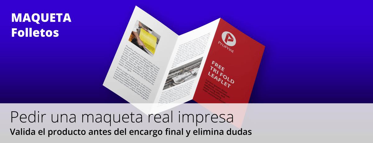 Imprimir maqueta real impresa de un folleto plegado