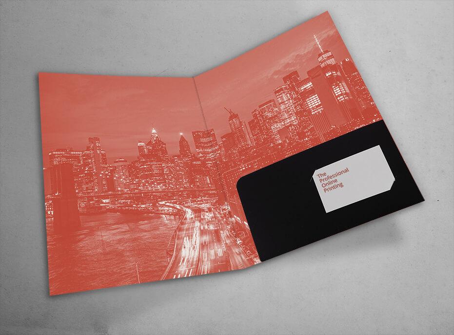 Carpeta troquelada con bolsillo encolado abierto con cortes porta tarjetas- ProPrintweb