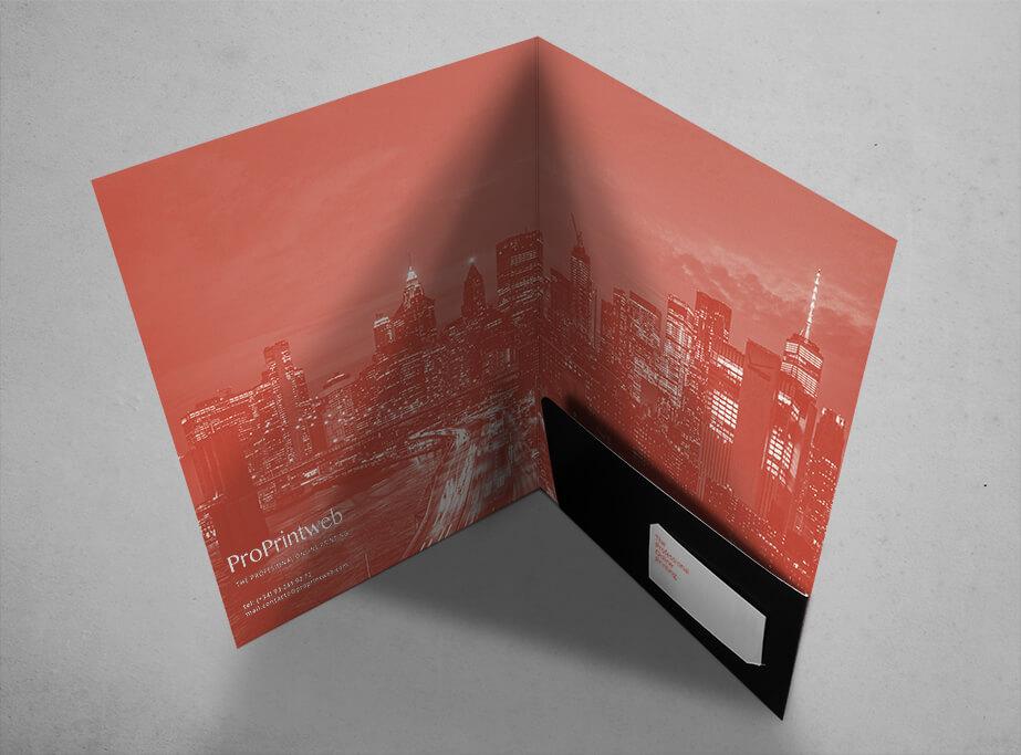 Carpeta troquelada con impresión personalizada 220x310mm con Bolsillo Troquelado Encolado - ProPrintweb
