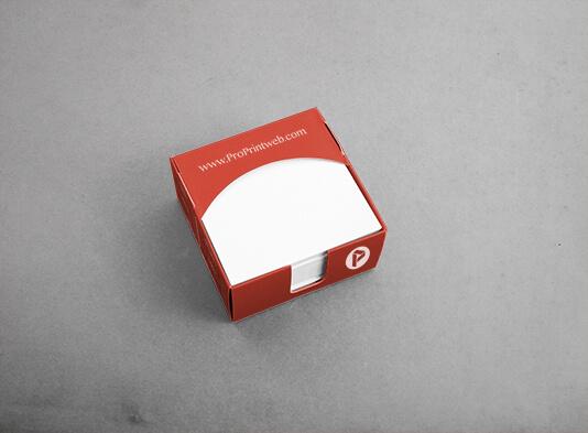 Imprimir caja automontable de cartón con taco de notas (97x97 mm)