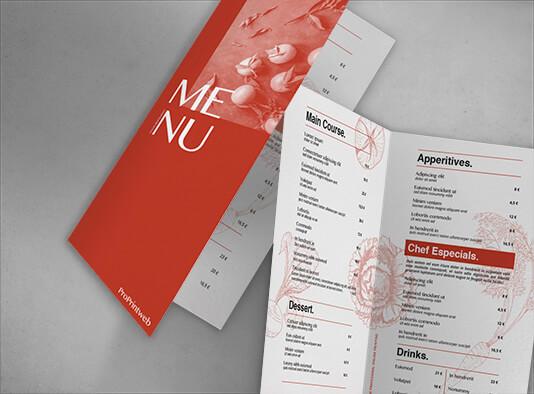 Impresión de Cartas restaurante diptica - ProPrintweb