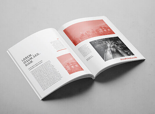Impresión de revista encolada abierta páginas interiores - ProPrintweb