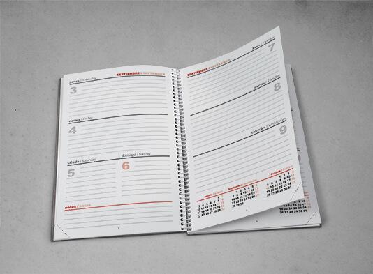 Impresión Agenda Espiral semana vista - ProPrintweb