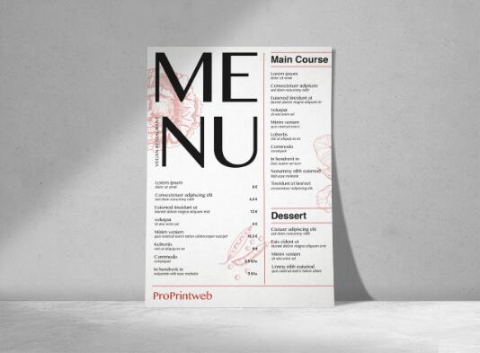 Imprimir cartas simples para restaurantes - ProPrintweb