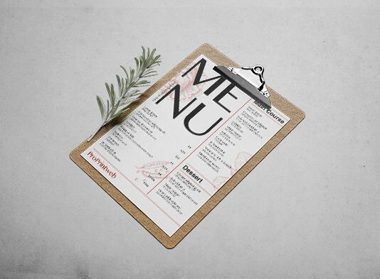 impresión de cartas simples para restaurantes personalizables
