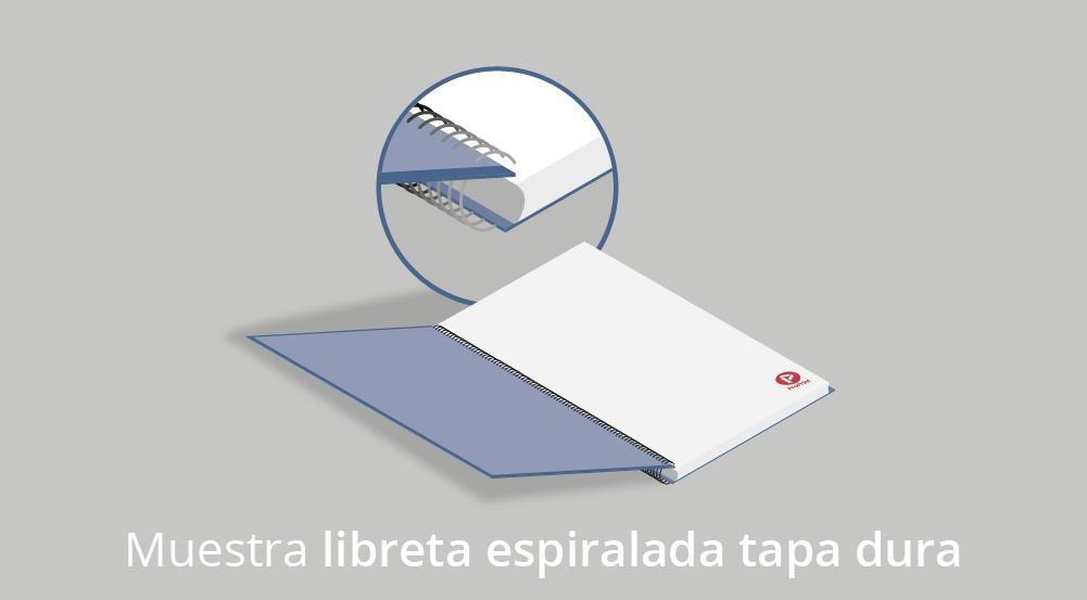 libreta espiralada tapa dura gris