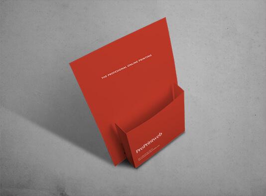 Display automontable con bolsillo para folletos A5 - ProPrintweb