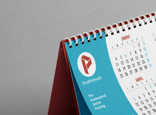 Imprenta de calendarios de mesa personalizados con wire-o blanc - ProPrintweb