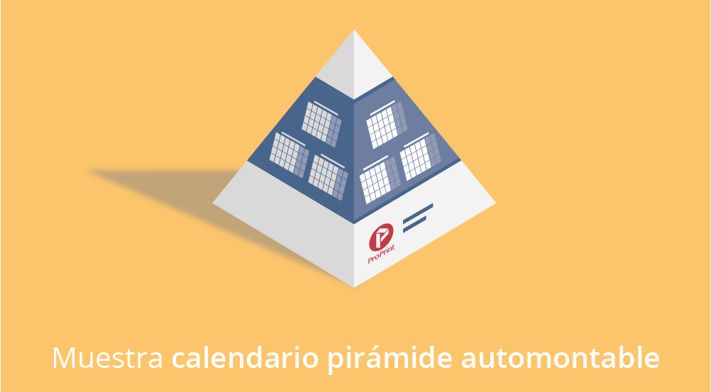 Muestra calendario pirámide automontable