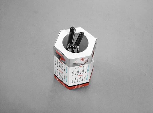 Imprimir calendarios portabolis hexagonal montado - personalizado
