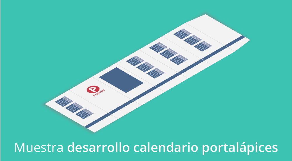 Muestra calendario portalápices hexagonal