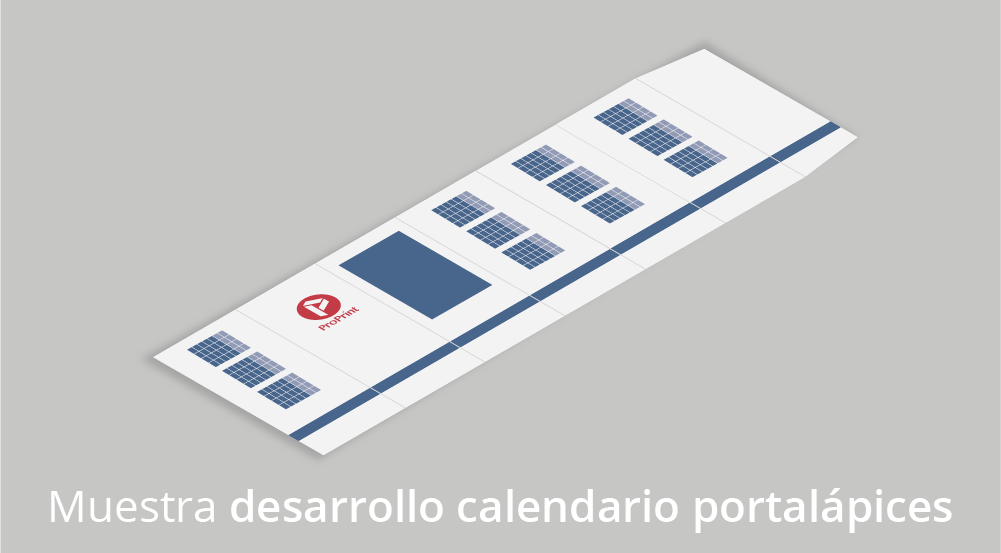 Muestra portalápices hexagonal con calendario