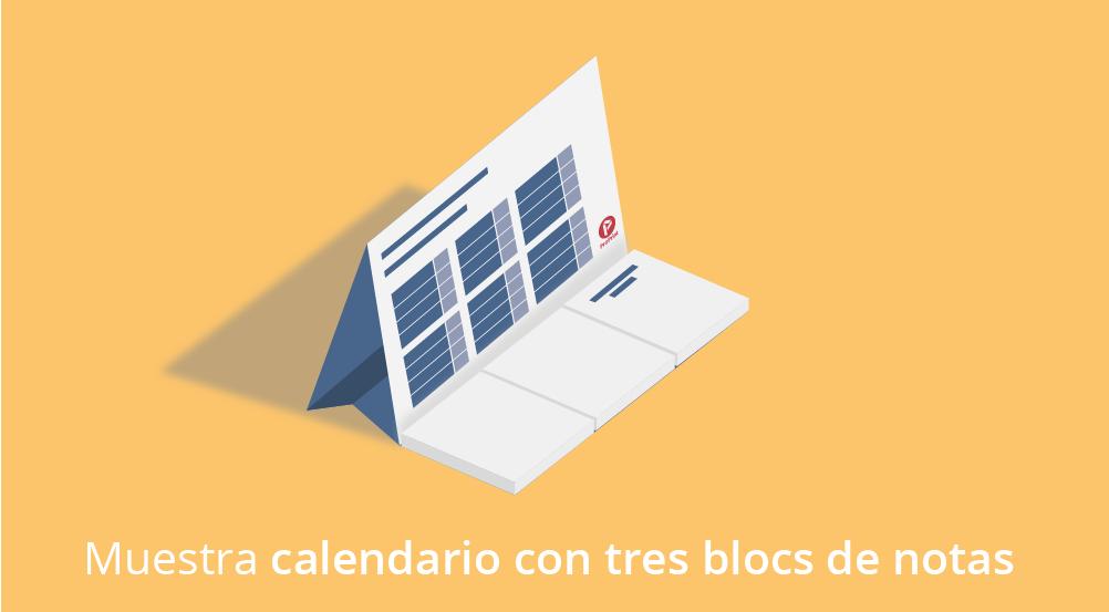Una muestra de calendario sobremesa con bloc de notas