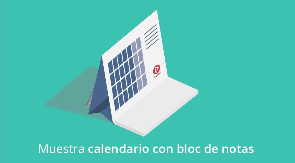Una muestra de calendario personalizado mesa con bloc de notas