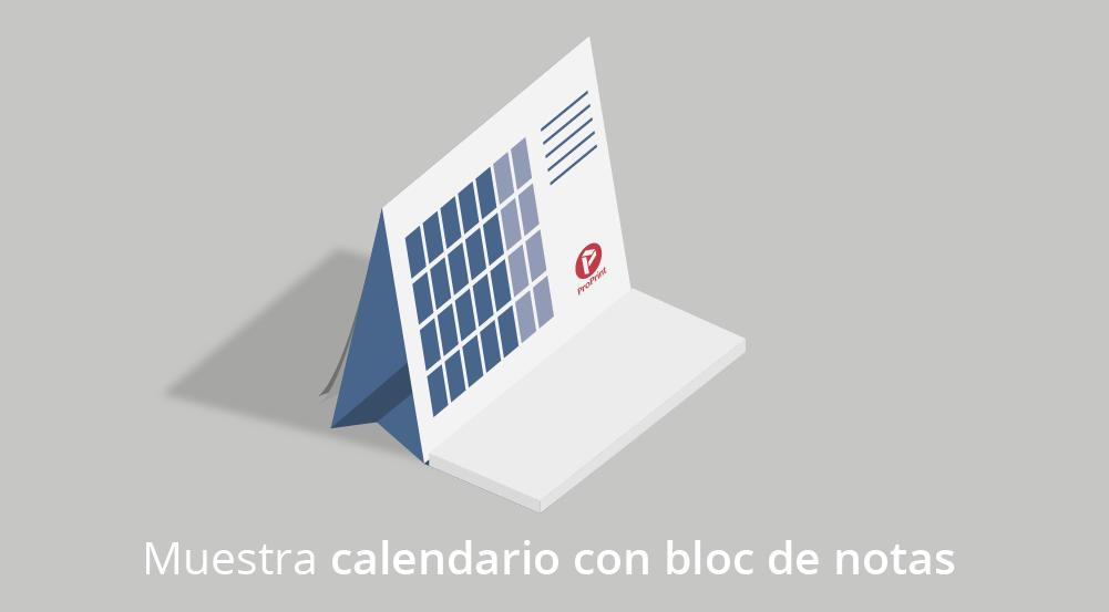 Impresión de calendario sobremesa con bloc de notas