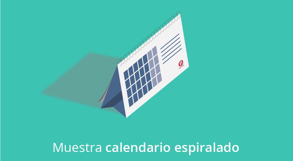 calendario espiralado sobremesa verde