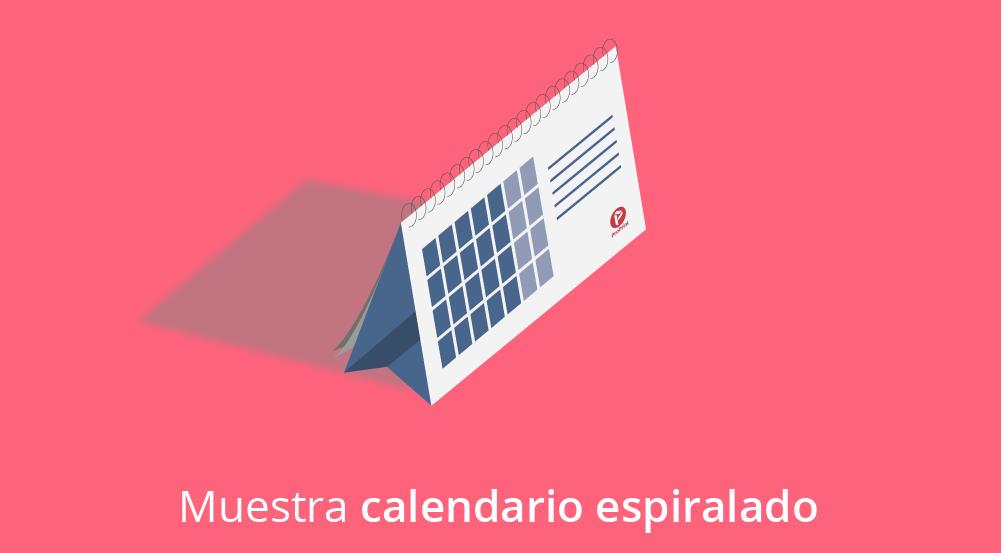calendario espiralado sobremesa rojo