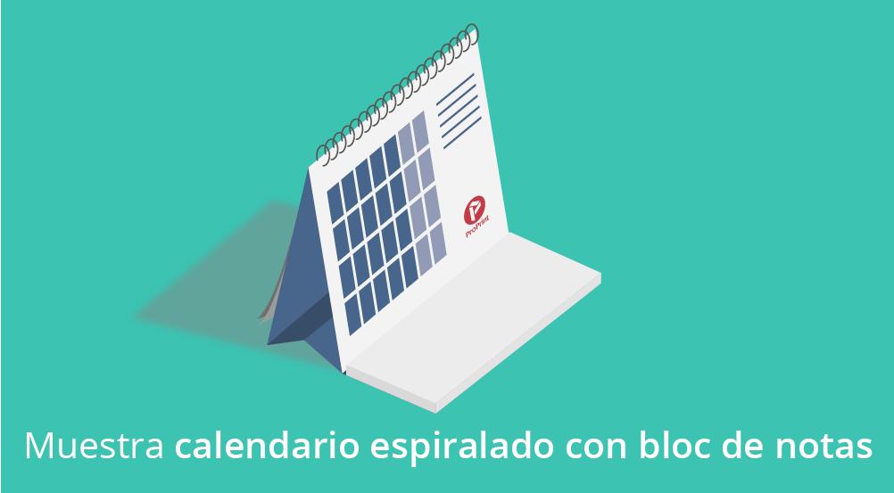 Imprimir calendario sobremesa espiralado con bloc de notas
