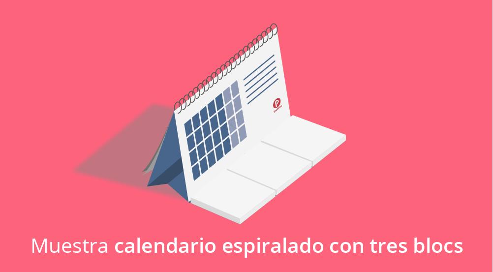 Impresión de calendario mesa espiralado con bloc de notas