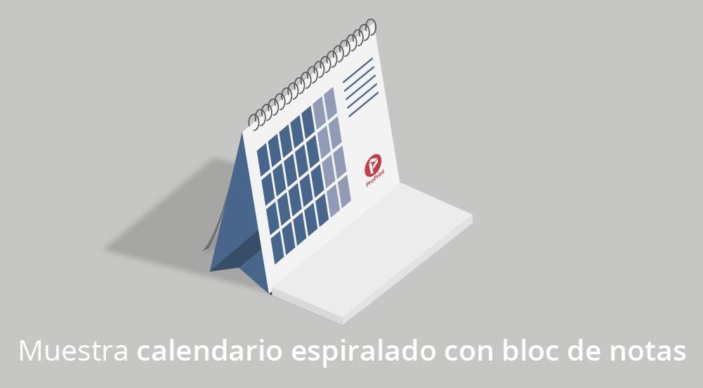 Imprenta de calendario espiralado con bloc de notas