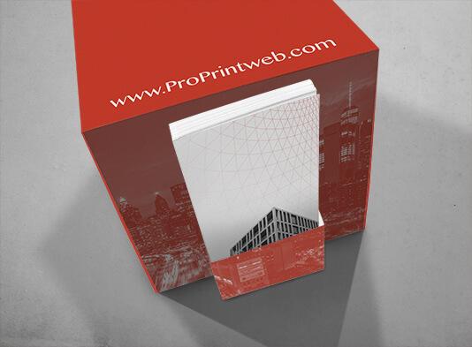 Display en forma de cubo 20x20 con bolsillo porta-folletos