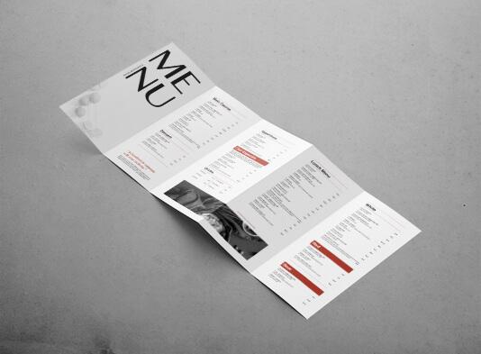 Impresión de cartas restaurante plegadas 5 palas - ProPrintweb