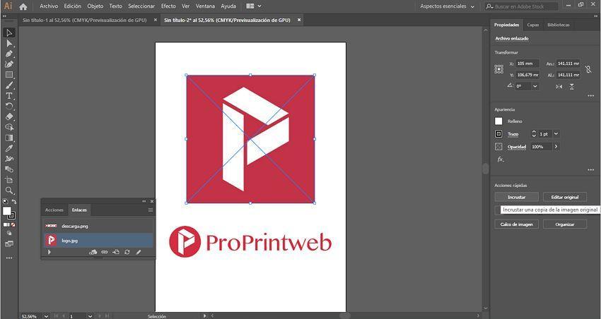 incrustar una imagen en illustrator 5